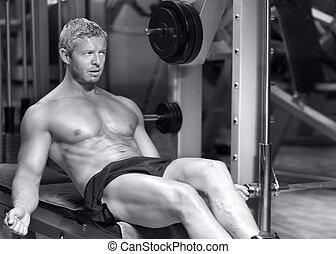 modell, hübsch, schwarz, weißes, fitness