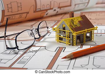 modell, haus, auf, architektonisch, bluprint
