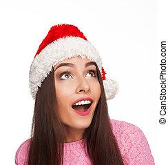 modell, in, weihnachtshut, nahaufnahme, bild