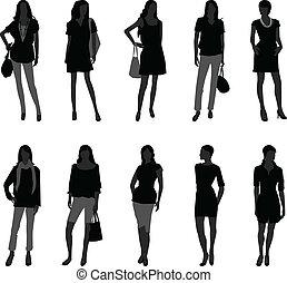 modell, kvinna handling, mode, kvinnlig