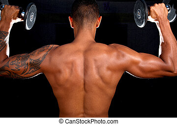 modell, manlig, muskulös, fitness