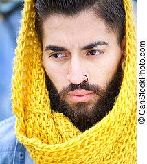 modell, manlig, scarf