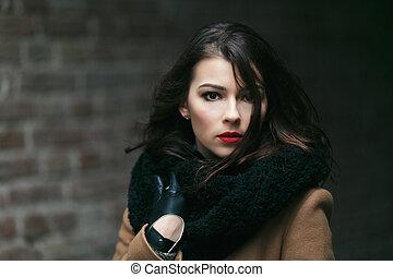 modell, moda, coat., hembra, simpático