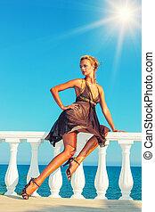modell, mode, meer, griechenland