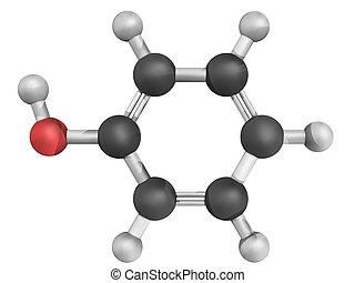 modell, molekular, phenol