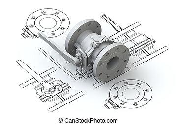 modell, oberseite, ventil, tabellen, 3d