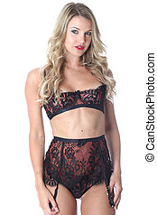 modell, released., junge frau, tragen, sexy damenunterwäsche