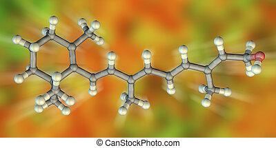 modell, retinol, molekular, vitamin