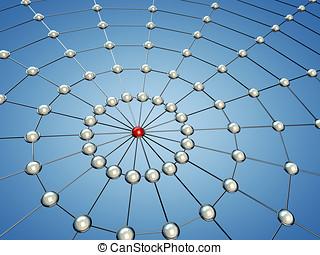 modell, von, a, vernetzung, 3d, abbildung