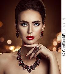 modella, bellezza, trucco, e, gioielleria, elegante, donna, bella faccia, truccare, con, gioielleria, closeup