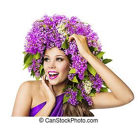 modella, e, lilla, fiori, bella donna, con, arte, corona, bianco