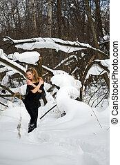 modella, in, inverno, legno