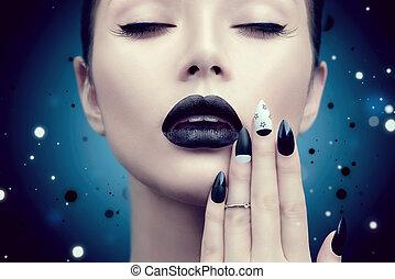 modella, ragazza, con, trendy, gotico, nero, trucco