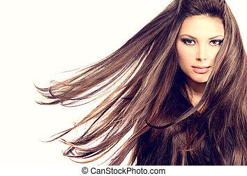 modella, ragazza, ritratto, con, lungo, soffiando, capelli
