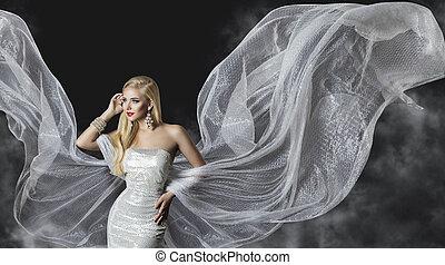 modella, vestire, donna, fluente, stoffa, ali, ragazza, volare, argento, tessuto