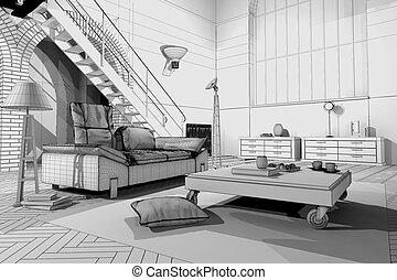 modellare appartamento, wireframe, 3d
