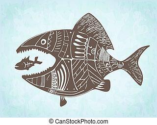 modellato, disegnato, vettore, pesci, mano