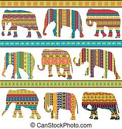 modellato, etnico, motivi, elefanti