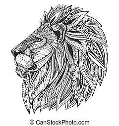 modellato, testa, lion., etnico, mano, ornare, disegnato