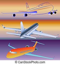 modellen, aircraft., passagier
