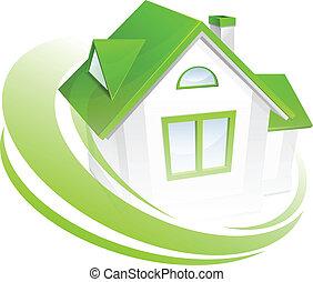modellera av hus, med, cirkel