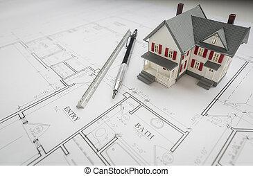 modellhaus, ingenieur, bleistift, und, lineal, ruhen, haus, pläne