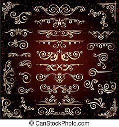 modelli, dorato, decorazione, set, come, oro, fondo., divisori, vettore, calligraphic, scuro, cornici, vittoriano, bandiere, ornamenti, ornare, turbine, pagina, elementi