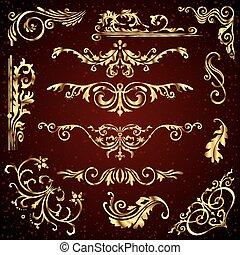 modelli, dorato, turbini, set, come, oro, fondo., divisori, decorazione, vettore, calligraphic, scuro, cornici, bandiere, ornamenti, ornare, floreale, pagina, elementi