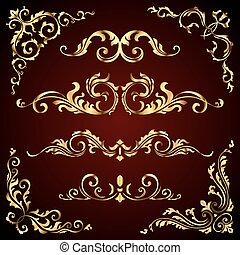 modelli, dorato, turbini, set, come, oro, fondo., divisori, decorazione, vettore, calligraphic, scuro, cornici, vittoriano, bandiere, ornamenti, ornare, pagina, elementi