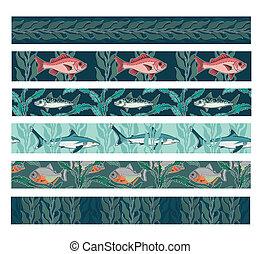 modelli, fish, seamless, collezione, nuoto