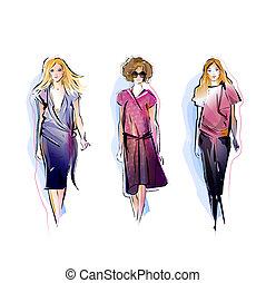 modelli, moda, tre