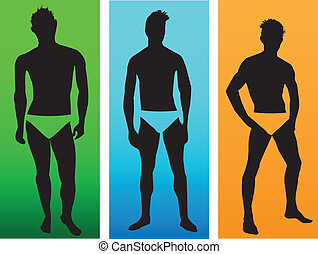 modelli, silhouette, uomini