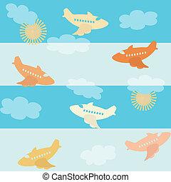 modello, aeroplano, seamless