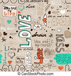 modello, amore, seamless, lettera