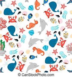 modello, animale, seamless, mare, cartone animato