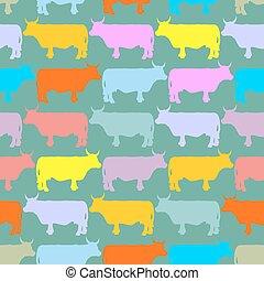 modello, animali, herd., ?olored, seamless, mucche, fattoria, ornamento
