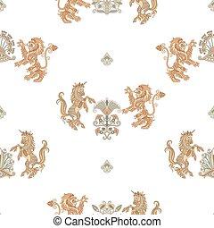 modello, araldico, seamless, leone, unicorno