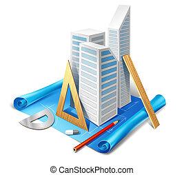 modello architettonico, e, attrezzi