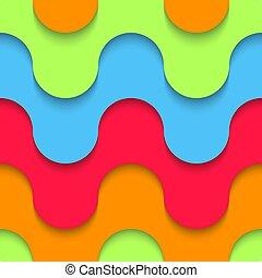 modello, artificiale, plastica, livelli, geometrico, colorato, multilayer, carta, seamless, materiale, ondulato, curve, disegno, ricoprire, fondo, forma