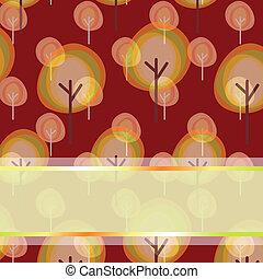 modello, astratto, albero, seamless, augurio, autunno, scheda