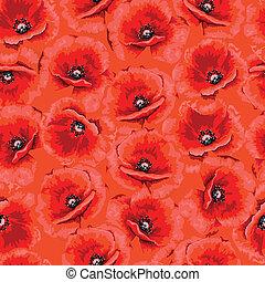 modello, astratto, seamless, fondo., poppies., fiori, rosso