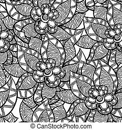 modello, astratto, seamless, mano, flowers., floreale, disegnato
