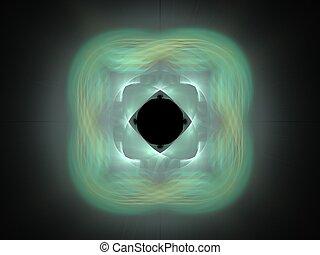 modello, astratto, sfondo nero, verde, fractal