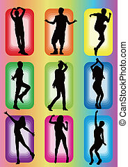 modello, ballo, silhouette, idolo, popolare