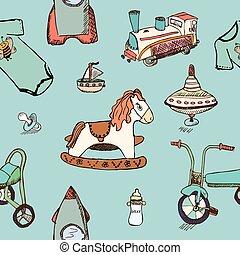 modello, bambino, mano, giocattoli, bambino, disegnato