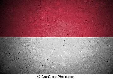 modello, bandiera, indonesia, concreto, wall.