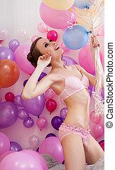 modello, biancheria intima, palloni, proposta, magro, sexy