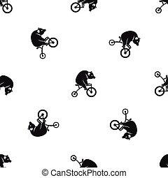 modello, bicicletta, nero, seamless, orso