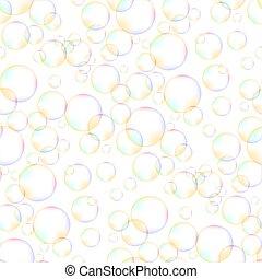 modello, bolle, schiuma, seamless, colorito