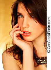 modello, brunetta, atteggiarsi
